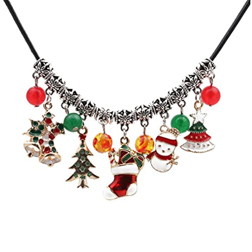 Collier Collier de Noël Collier Couker Clavicule Chaîne Sapin de Noël Chaussette Chaussette Pendentif Bijoux Cadeau Pour Noël Fête Femmes Filles