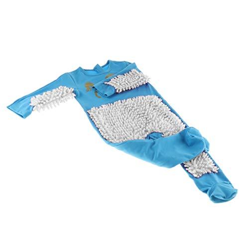 CUTICATE Baby Wischmop Overall Mädchen Jungen Schneeanzüge Strampler Outfit Babykleidung aus Baumwolle, Farbe zum auswählen - Himmelblau + Weiß, 85cm