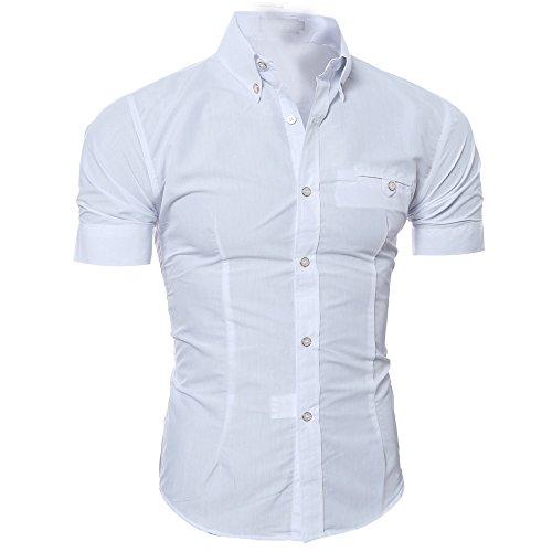 Yowablo Bluse Herren Kurzarm Hemden Prom Hochzeit Button Down O Neck Pullover T-Shirt Top (L,Weiß)