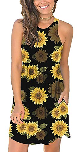 AlisaT Women's Summer Casual T Shirt Sundress Swimsuit Cover Ups with Pockets, Black Small