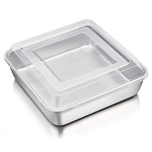 8 Inch Square Baking Cake Pan with Lid, P&P CHEF Stainless Steel Lasagna Brownie Pan and Plastic Cover for Picnic Wedding Birthday, Healthy & Durable, Leakproof Pan & Raised Lid, Dishwasher Safe