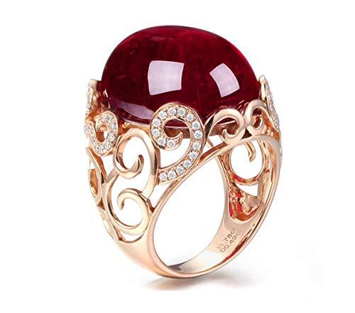 AnazoZ Bague Femme Or Rose 18 carats Tourmaline*31.78ct Rouge Ovale/VVS2-VS1