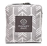 Monkey Mat - Plush Mat | Lightweight Luxuriously Soft Waterproof Picnic Travel Blanket with Corner Weights - 5' x 5' (Gray Arrows)