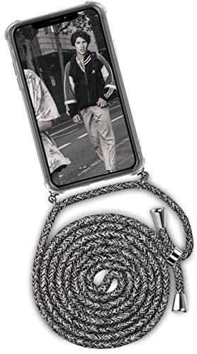 ONEFLOW® Handykette + Hülle passend für iPhone 11 | Stylische Kordel Kette - Kristallklare Handyhülle mit Band zum Umhängen in Schwarz Grau Weiß