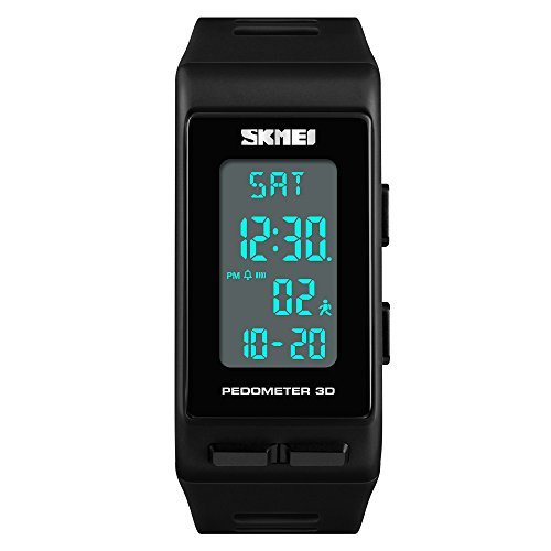 TONSHEN Unisex Outdoor Sport Digital Watch for Men and Women Multifunction Pedometer Calories LED Backlight Stopwatch Rectangular Plastic Case with Rubber Band Wrist Watches for Fitness Black