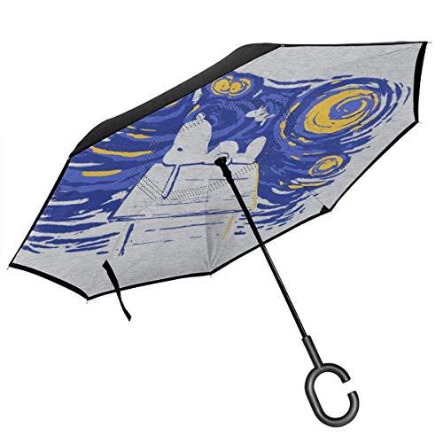 qinhanxinchengxianlibaihuodian Peanuts Van Goghs A Snoopy Night Sky Double Layer Inverted Regenschirm für Auto-Reverse-Folding den Kopf gestellt C-förmigen Hände - Leicht und Winddichtes & ndash