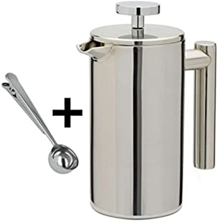 Kabalo Stainless Steel Double Wall Cafetiere Filter/Plunger Coffee & Tea Maker - 350ml 3 Cups