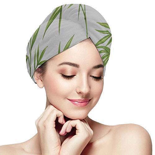 QHMY Vert Plante Feuille De Bambou Sauvage Filles Cheveux Serviette Wrap Enfants Cheveux Wrap Serviette Doux Absorbant Séchage Rapide Cheveux Turban Enfants Cheveux Wrap Serviette Chapeaux pour Cheve