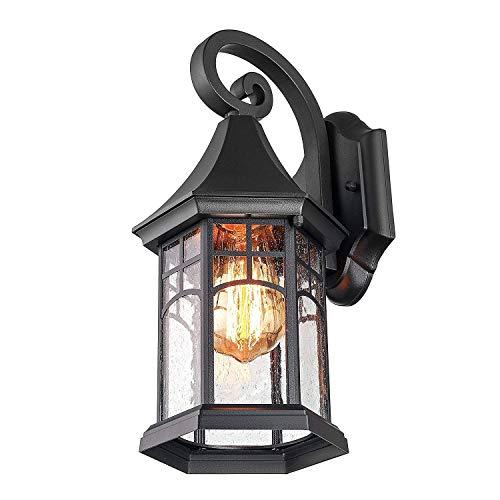 Suytan Lámpara Colgante Retro Vintage Lámpara Linterna Lámpara de Techo Colgante Industria Lámpara de Techo Lámpara de Techo E27 Casquillo Ajustable con Vidrio para Comedor Comedor, Cristal,Negro