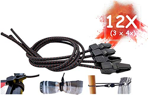 MAGMA 12 Elastic Bungee Cords Fast Clip Turnbuckles | Heavy-Duty Straps for Luggage, Tarpaulin, Tent, Boat, Bike and Truck | Waterproof Bungees and Ratchet for Hardware Tools, Camping Trailer Cargo