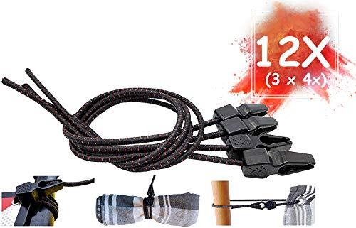 MAGMA Tensores Elasticos, Cuerdas Elastica Sujetar Lonas, Toldos, Señal V20, Portabicicletas Longitud Ajustable Acampadas Camping FastClip 50cm (Pack 12 Units)
