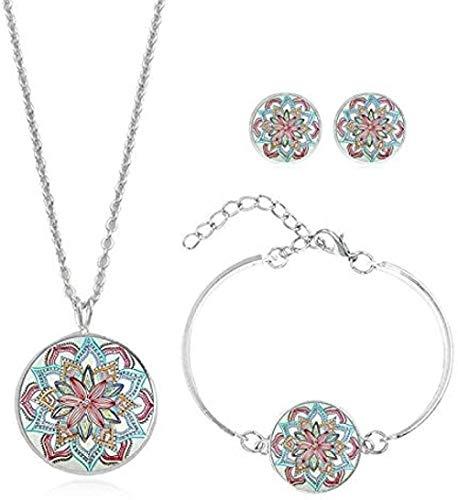Yaoliangliang Conjunto de Collar de Flores Mandala, Collar, Pendientes, Pulsera, Hecho a Mano, Redondo, con patrón de Vidrio, Collar, joyería