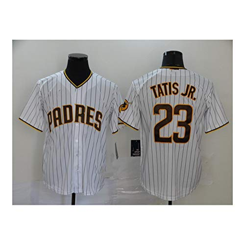 Padres # 23 TATIS JR. Camiseta de béisbol para Hombre, Manga Corta, Uniforme del Equipo, botón, Sudadera con Ventilador, Camiseta de béisbol Personalizada (S-XXXL)-Fan White 23-M