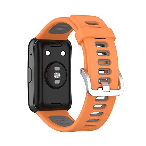 TopTen Correa de reloj compatible con correa HUAWEI WATCH Fit, pulsera de silicona colorida Accesorios de repuesto Pulsera ajustable (naranja/gris)