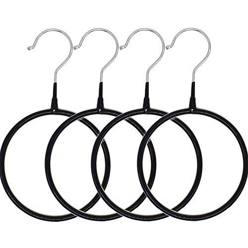 4 Pcs Scarf Belt Organizer Nonslip Ring Hanger Loop Rack Silk Scarf Display Stand Tie Circle Creative Rack Black
