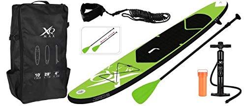 HHP Stand Up Paddle Board SUP - Tabla de paddle surf, 305 x 71 x 10 cm, con remo y bomba y bolsa (negro/verde)