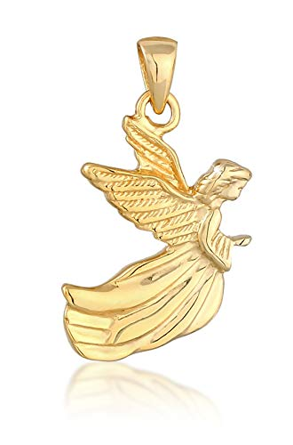 Gold Engel Flügel Anhänger in 925 Sterling Silber vergoldet für Damen, Kettenanhänger Angel Schutzsymbol für Silberkette oder Mädchen Halskette, 0403321220