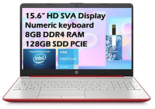 "2021 HP Flagship Pavilion 15.6"" HD Laptop Computer, Intel Dual-core Pentium Processor, 8GB RAM, 128GB SSD, Intel UHD Graphics 605, Bluetooth, USB-C, HDMI, Win 10, Scarlet Red with E.S 32GB USB Card"