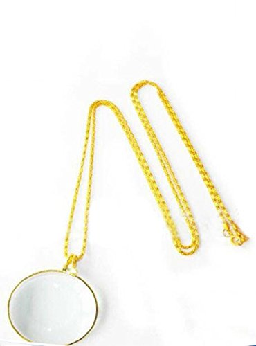 NIEGENNA-Assorted Colors 5X Magnifier Necklace Magnifying Glass Pendant Optical Lens with Chain Jewelry Loupe for The Seniors Elders Aged Reading Increase Vision(Color: Gold)