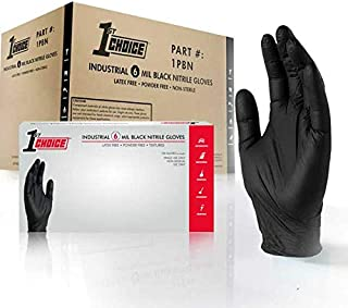1st Choice Industrial 6 Mil Black Nitrile Gloves - Latex Free, Powder Free, Textured, 1PBNS, Small, Box of 100, Pack of 10