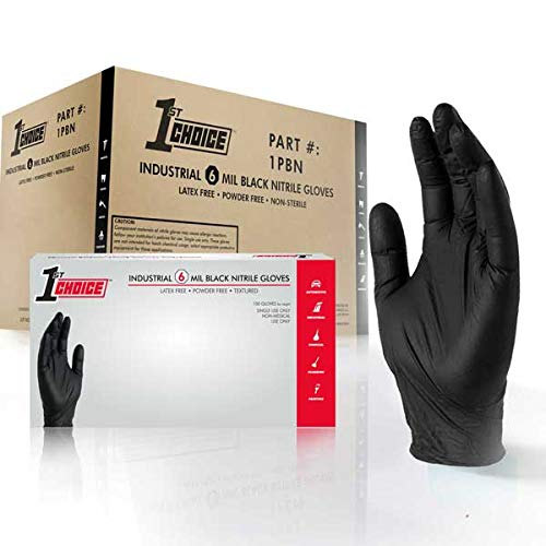 1st Choice Industrial 6 Mil Black Nitrile Gloves, Latex Free, Powder Free, Textured, Disposable, Non-Sterile, Size XLarge, Case of 1000, 1PBNXL