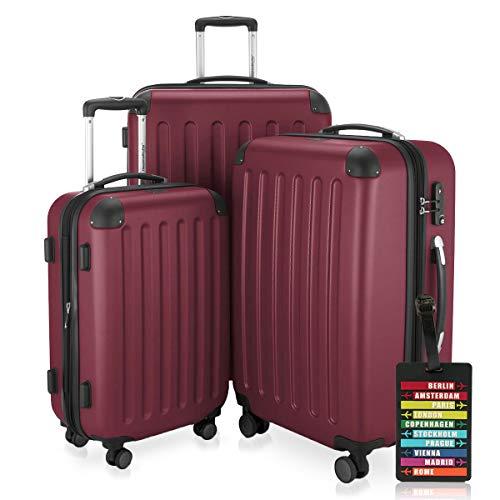 HAUPTSTADTKOFFER - Spree - 3er Koffer-Set + Kofferanhänger - Handgepäck 55 cm, mittelgroßer Koffer 65 cm, großer Reisekoffer 75 cm, TSA, 4 Rollen, Burgund