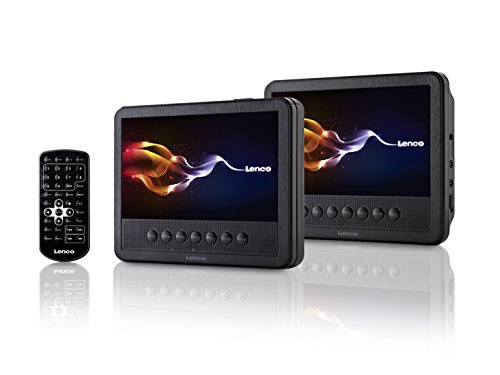 Lenco Tragbarer DVD-Player MES-212 mit 2X 17,5 cm (7 Zoll) Monitor Dual-Screen, USB, Fernbedienung schwarz