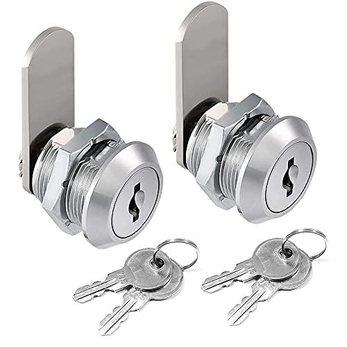 Catelves 2 Stück Briefkastenschloss, Zylinder Cam Lock Schrankschloss Nockenschloss, Spindtürschloss, Sicherheit Postfachschloss 16mm Versilberung