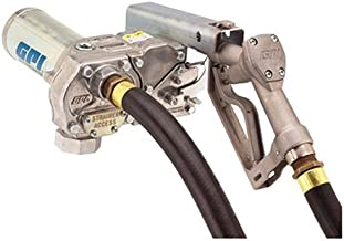 GPI 110300-1, M-180S-ML Aluminum Fuel Transfer Pump, 18 GPM, 12-VDC, 1-Inch Manual Leaded Nozzle, 1-Inch X 12-Foot Static Wire Hose, 18-Foot Power Cord & Adjustable Suction Pipe