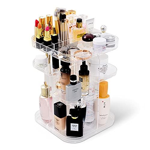Makeup Organizer, 360 Rotating Acrylic Cosmetic Storage Box, DIY Adjustable Large Capacity Makeup Shelf for Lipstick, Brushes, Lotions, Eyeshadow, Nail Polish and More (Clear)
