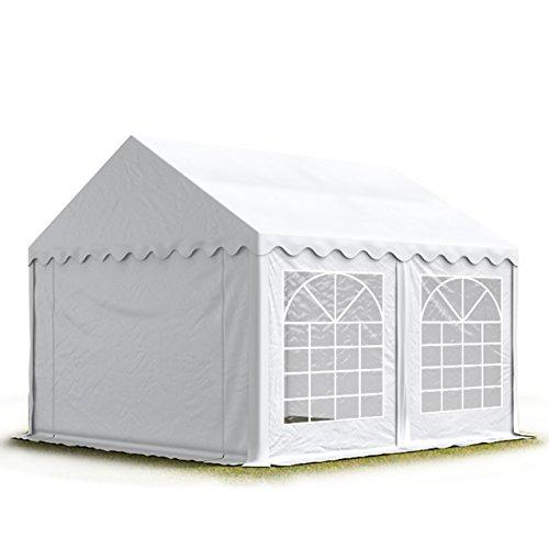 TOOLPORT Party-Zelt Festzelt 5x5 m Garten-Pavillon -Zelt ca. 500g/m² PVC Plane in weiß Wasserdicht