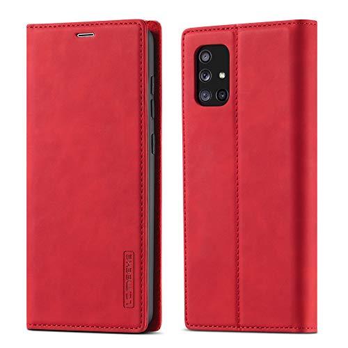 EYZUTAK Vintage Lederhülle für Samsung Galaxy A51, Magnetverschluss Premium PU Leder Flip Hülle mit Kartenfache Brieftasche Standfuntion Stoßfeste Weiche TPU Retro Ledertasche - Rot