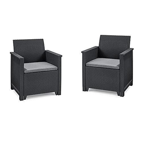 Koll Living Garden Lounge Sets Emma - Verschiedene Ausführungen - hochwertige Sitzgruppe für den Garten, Terrasse oder Balkon - höchster Sitzkomfort durch ergonomische Rückenlehnen (2X Sessel)