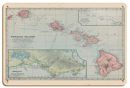 Mapa de las islas hawaianas – Pearl Harbor, Honolulu – Mapa cartográfico vintage grabado a color por J. Martin Miller c.1805-8 pulgadas x 30 cm Vintage Madera Art Sign