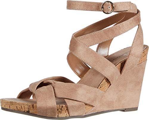 Aerosoles Women s Phoenix Wedge Wraparound Ankle Strap Nude Fabric Heeled Sandals 8 W US 8 product image