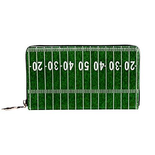 Geldbörse,Geldbörse,Echtleder Geldbörsen für Damen Herren Geldbörsen,American Football Field Green ,Kartenetui