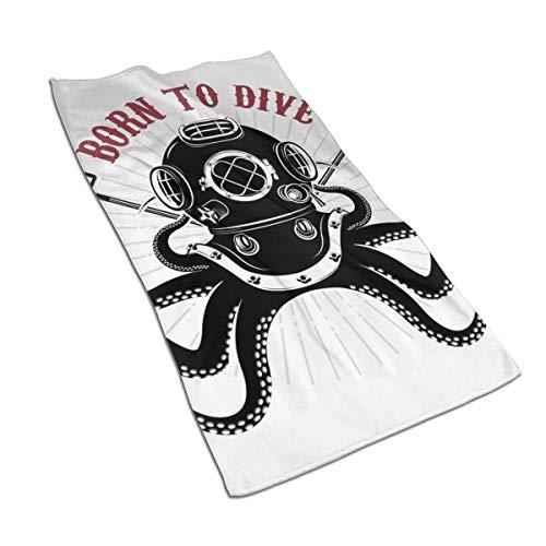 AOOEDM Octopus mit Zwei Dreizack und Taucher Reichlich Dekor Superweiche Badetuch-Sets, schnell trocknende, hochsaugfähige Premium-Badetücher Maße 27,5 Zoll x 15,7 Zoll