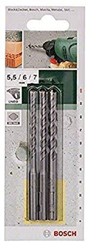 Bosch Uneo - Juego de brocas para cemento (5,5 mm, 6 mm y 7 mm)