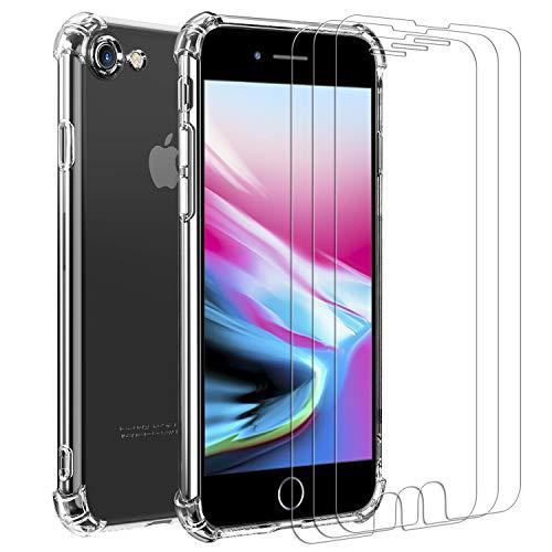iVoler Cover per iPhone SE 2020   iPhone SE 2   iPhone 8   iPhone 7, Antiurto Custodia con Paraurti in TPU Morbido e 3 Pezzi Pellicola Vetro Temperato, Sottile Trasparente Silicone Protettiva Case