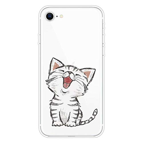 Miagon Transparent Hülle für iPhone 6/6S,Lachen Katze Muster Kreativ Süße Durchsichtig Klar Soft Ultra Dünn Silikon Case Cover Schutzabdeckung