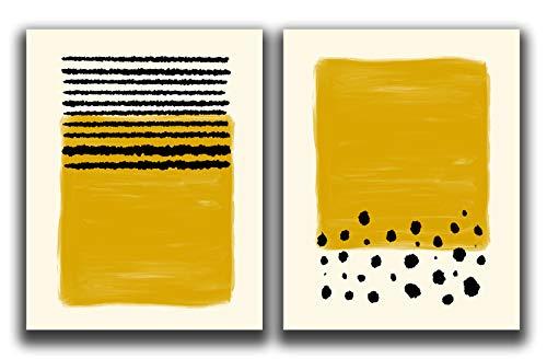 "Abstract Modern Wall Art Prints - Set Of 2-11x14"" UNFRAMED Prints - Minimalist, Scandinavian, Mid Century Modern Wall Decor - Mustard Yellow Lines And Circles Wall Prints"