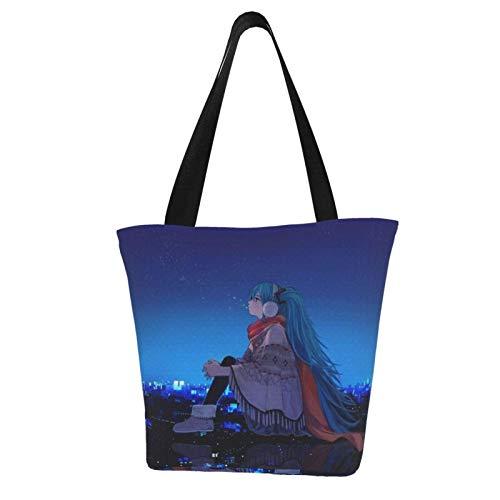 Hatsune Miku Bolsa de lona feminina Bolsas de Mão Bolsas de Ombro Bolsas de Praia Bolsa de Compras