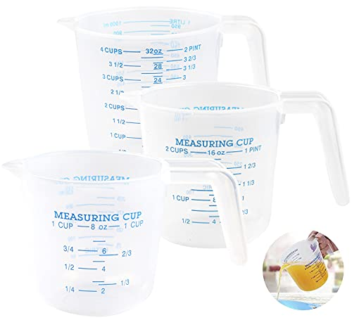 Surflyee 3 Piezas Vaso Medidor,250ml /500ml /1000ml,Jarra Medidora de Plástico Transparente, Resistencia a Caídas, Resistencia a Altas Temperaturas, Para Cocina y Laboratorio