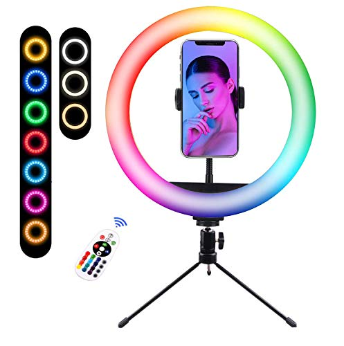 Luz De Anillo LED con Trípode, 10' RGB Anillo De Luz con Soporte De Móvil con Mando A Distancia