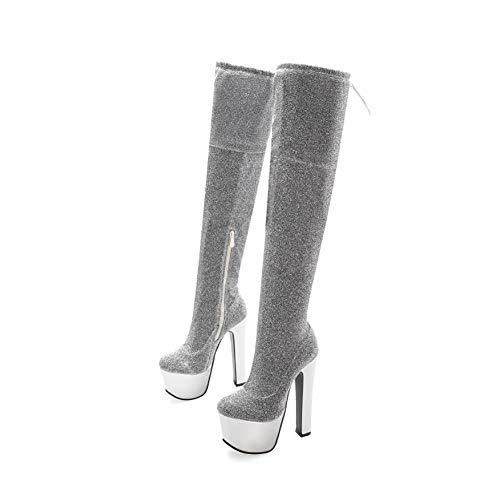 JIEXIAO Sexy sobre-Knee, Botas súper Altas, Botas de Mujer Sexy más tamaño,Plata,43