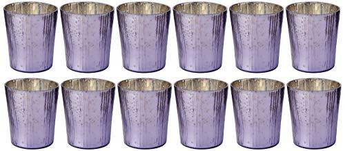 Insideretail - Portacandele in vetro Mercury, verticali, con pellicola lilla, 7 cm, set da 12 pezzi, 7 x 5 x 7 cm