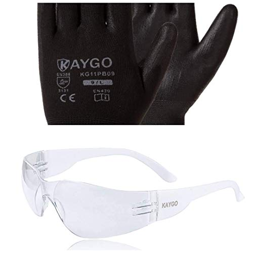KAYGO Safety Work Gloves KG11P and Safety Glasses KG501TW, Ideal for General Duty Work