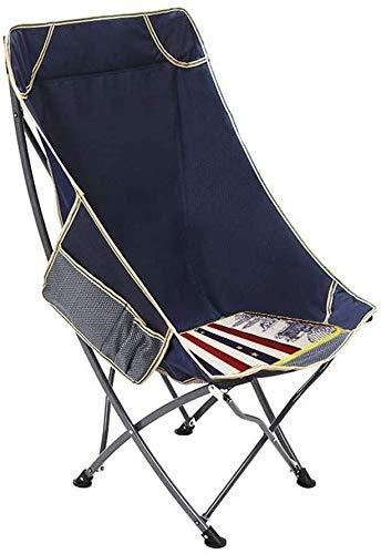 WJXBoos Silla Plegable para Acampar al Aire Libre, Silla de jardín portátil Ultraligera Silla Plegable con Bolsa de Transporte (hasta 150 kg) para Excursionista, Camping, Playa (Color: Azul Oscuro)