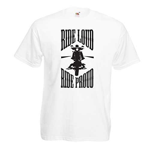 lepni.me N4695 Camiseta Ride Loud! (XX-Large Blanco Multicolor)