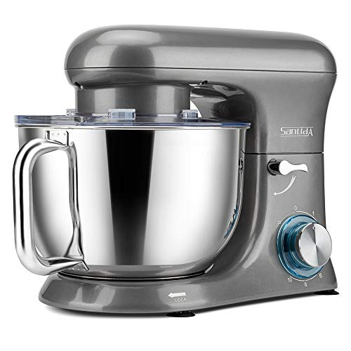 SanLidA Stand Mixer, Metal Shell Series 6.5 Qt. 10-Speed Kitchen Electric Mixer with Dishwasher-Safe Dough Hooks, Flat Beaters, Whisk & Pouring Shield Attachments for Most Home Cooks, SM-1515, Pearl Grey